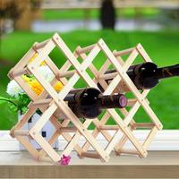 Folding wine rack  alcohol care drink bottle holders solid color wood shelf