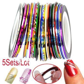 DHL5Sets/Lot(1Sets=30Pcs) Mixed Colors Rolls Striping Tape Line Nail Art Decoration Sticker Free Shipping