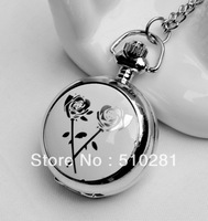 Round High Quality Chinese Style Milkwhite Pattern No Cover Glass Pocket Watch 10pcs/lot#(free Ship)