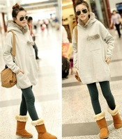 2013 Korean version of Hitz loose long section of thick fur collar bat sleeve hooded pullover sweater 86810
