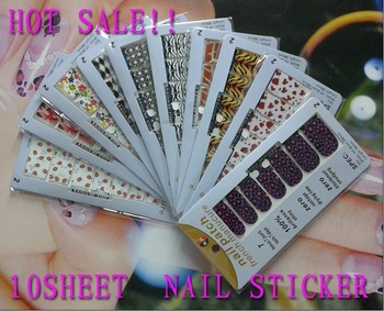 DHLhot sellingFREESHIPPING Wholesale Nail Foils Sticker set/10sheet Nail Art Stick Patch 3D Sticker For Fingernail Desgin & deco