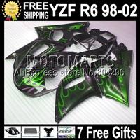 7gifts  For YAMAHA YZFR6 98 99 00 01 02 YZF600 YZF 600 Green flames black R6 Q92110 YZF-R6 1998 1999 2000 2001 2002 Fairing