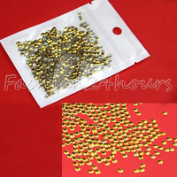 New 1000pcs Round Shape 3mm Gold Nail Art Metal Decoration For DIY Tips Free Shipping