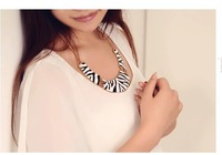 Min.order is $10(mix order) Free shipping Indian fashion rhinestone leopard zebra print brief paragraph collar necklace