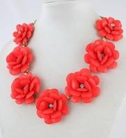 2013 J.e.w.e.l crew Designer Inspired Brand New Beaded Rose Statement Flower Red Necklace Rare Gift j.e.w.e.l crew