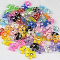 New 100pcs 12 Mixed Colors Flower Shape Nail Art Resin Decoration For 3D Nail Art Free Shipping