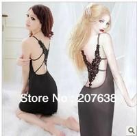 Best Selling!Women Nightdress fashion V-neck Strap backless sleepwear nightgown free shipping