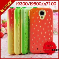 Lovely 3D Strawberry Case Cute Tempting Soft Silicone + PC Hybrid Cover Case for Samsung Galaxy S4 I9500 S3 i9300 Note 2 N7100