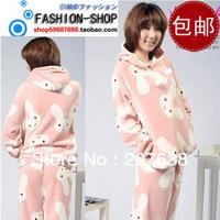 Women fleece pajama winter warm cartoon rabbit sleepwear homewear set free shipping
