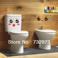 Contemporary and contracted color smiling face two toilet bathroom posts