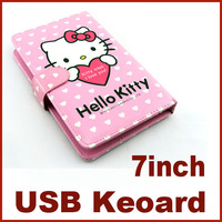 Direct Marketing Hello Kitty usb Keyboard Leather Case Cover Protective  for 7 inch Tablet PC Free Drop Shipping