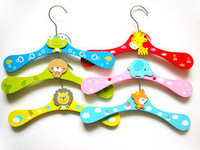Wholesale 20pcs/lot wooden child hanger cartoon animal baby multicolour hanger Wood hangers for clothes Free Shipping