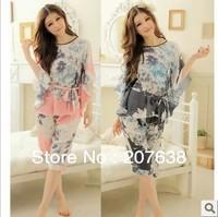 Best Selling!ladies faux silk Ink painting plus size batwing sleeve sleepwear pajama set free shipping