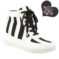 2013 free shipping new arrival black-and-white lacing stripe color block elevator sports casual shoes high-top women's shoes