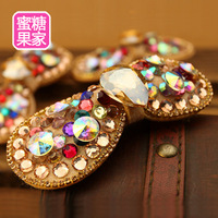 Crystal fashion accessories multicolour heart full rhinestone gem duckbill clip side-knotted clip hairpin