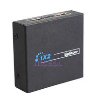 NI5L Black 1 X 2 HDMI to HDMI Splitter Switcher Box for 1080P 3D HDCP HDTV DVD