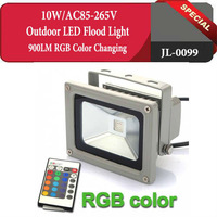 Wireless Remote Control LED Color Lights 10W RGB 900LM Color Changing Outdoor LED Flood Light AC85-265V,Free Shipping,JL-0099