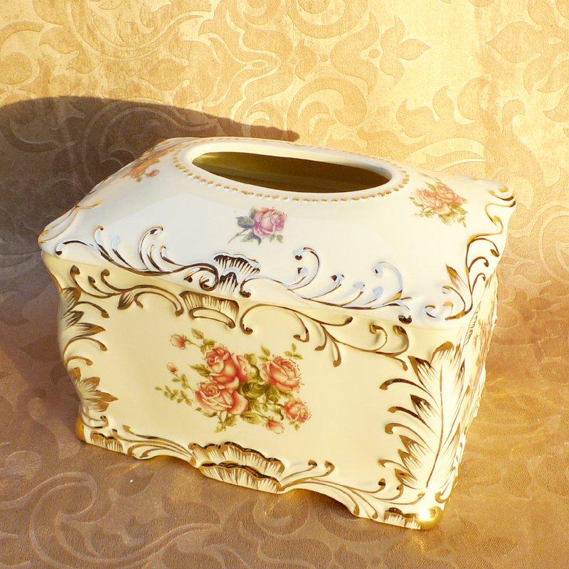 marfim moda tecido porcelana caixa caixa de papel bombeamento cerâmica casa nova decoração tamanho(China (Mainland))