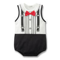 free shipping classic children's clothing wholesale sleeveless bag fart with Red bow tie gentleman Rompers Triangle jumpsuit