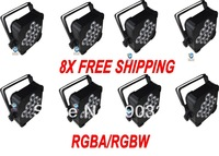 8X lot Freeshipping -RGBW/RGBA 9pcs*10W  Flat Par Can Light, low weight-easy installation,wireless receiver supportable