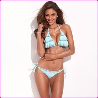 [ BIKINI OUTLET ] Size S 2013 New Light Blue Ladies Bikini Set Bathing Suit Swimwear Ruffles Triangle Top&Bottom Free Shipping