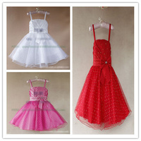 girl's Wedding dresses free shipping Hot Sale Gowns strap Holiday dresses with bowknot 6 pcs lot XJ1011