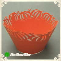 Free Shipping!! 100pcs Orange pumpkin Laser Cutting Pearl Paper Halloween Cupcake Wrappers, Muffin Decoration!!
