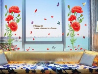 Free Shipping Wholesale--Red  Flower  Wall Sticker 10Sets/Lot The Decoration Of Home Wall Stickers Decor 90x60cm