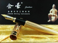 NP53 Golden Checked DRAGON 18KGP Fountain Pen JINHAO   Free shipping