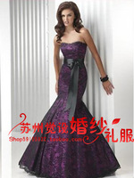 Hot Sale Drop Shipping New 2014 Wedding Party Gowns Purple Slim Mermaid Dresses Toast Black Lace Satin Evening Dresses Customize