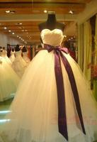 Hot Sale 2014 New Bride Slim Wedding Dress Princess Purple Sashes Satin Yarn Belt Wedding Ball Dresses Gowns Drop Shipping