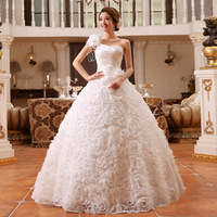 Hot Sale Drop Shipping 2014 New Bridal Fashion One Shoulder Lace up Flower Strap Paillette Princess Wedding Ball Dresses Gowns