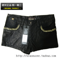 Lancool leather denim shorts d238