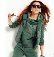 New 2013 Hot Sell Korean 5 Colors Women Hoodies Suits 3pcs/Set Autumn Winter Women's Clothing Oversized Pullovers Sweatshirts