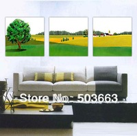 Newly Modern 3 Pcs 40cm Scenery Abstract Art Oil Painting Home Wall Deco Canvas Art S-532B