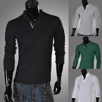 Free shipping 2013 new men's Fashion all-match fashion men stand collar classic long-sleeve T-shirt  M~XXL
