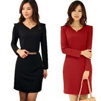 2014 new fashion V-neck long-sleeved dress sexy fashion dress spring wild Slim large size women office dress belt assembly