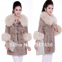 Free shipping !Hot 3color women's party luxury winter rabbite  fur coat lady rabbite  fur clothing overcoat  high quality
