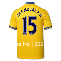 NEW Free shipping  13-14 arsenal Away Jerseys #15 Chamberlain yellow Shirts Football kit 2013-14 Cheap Soccer Unforms