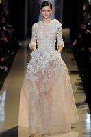 Vintage Long Sleeve Applique Flower Champagne Big Size Women Dress Evening Dress(EVEL-1008)