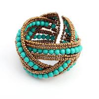 Min order is $10 2012 fashion bohemia bracelet beaded knitted bangles 9521