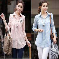 Autumn women's fashion plus size long sleeve blouse cotton shirt  top female puls size clothing S to XXXL size free shipping
