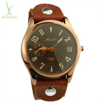 2013 New Arrival Vintage Brown Leather Strap Watch Top Layer Wristwatch Women Men PI0543