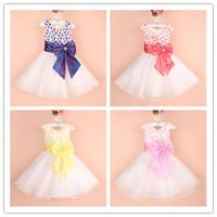 HOT SALE girl's wedding dresses new fashion 2013 Big Bowknot Gowns Prom evenng Dresses 6 pcs lot XJ1016