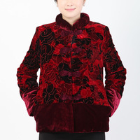 Free shipping 2013 new arrival  female cotton-padded  out wear coat  women large size traditional Chinese garments clothing
