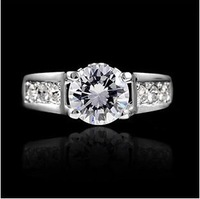 Wholesale Lots Free Shipping 18K White Gold Plated Zircon Ring Fashion CZ Diamond Jewelry