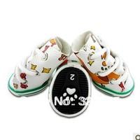2013 Hot Sale Pet Shoes Magic Button Design Fashion White Green Ties Guc Pattern Dog Shoes Free Shipping