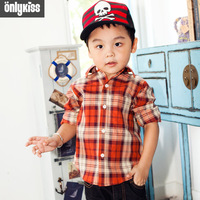 2013 male spring,autumn new children clothing brand kids wear boys fashion wild style plaid long-sleeved shirt bottoming
