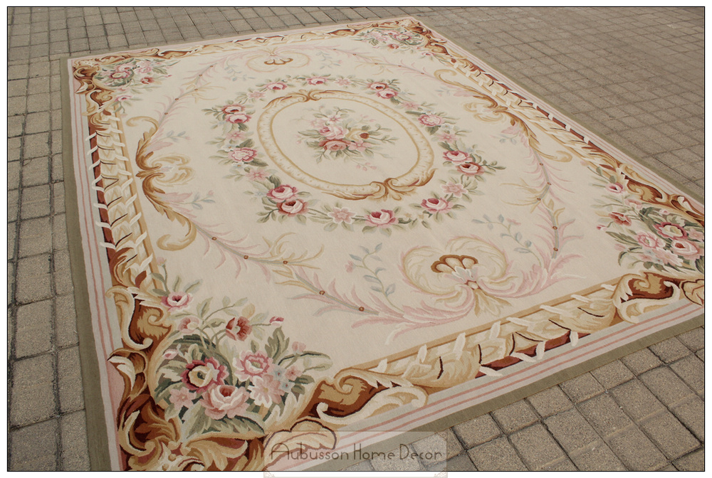 Free Ship 8x10 French Pastel Colors Aubusson Area Rug Wool
