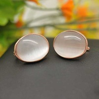 White Oval Cat's eye stone sterling silver earrings  925 silver stud earrings Rose gold plated Free Shipping 20849